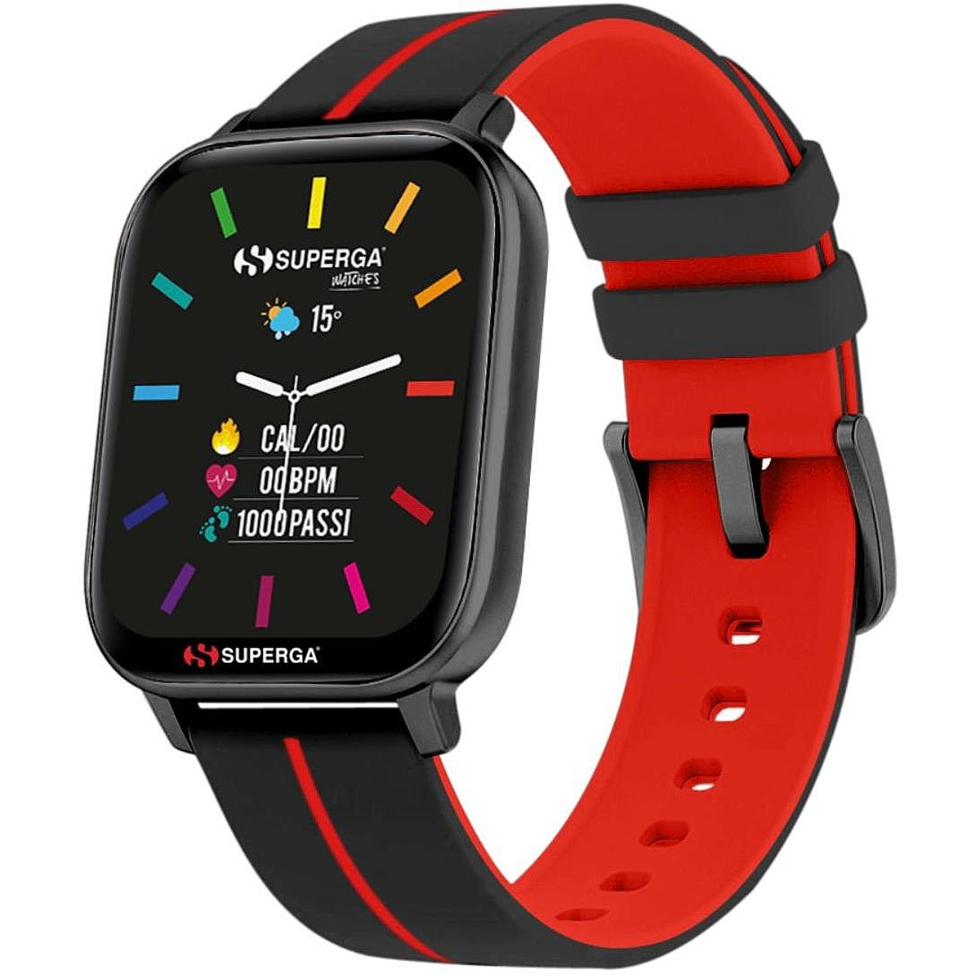 Superga SW-STC003 Uomo 40mm Acciaio Nero Silicone Digitale Nero Rosso Smartwatch ip68
