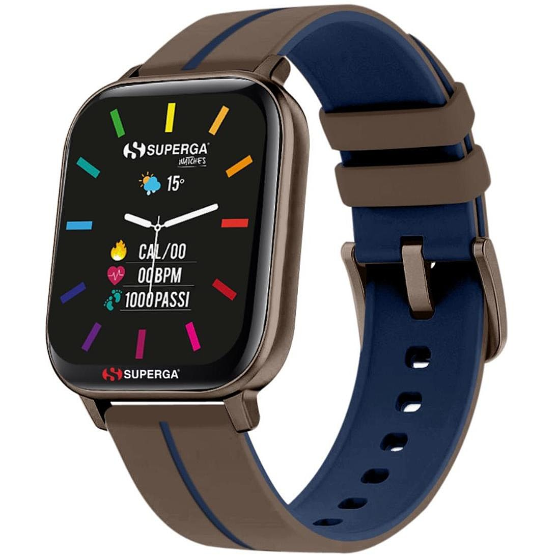 Superga SW-STC005 Uomo 40mm Acciaio Tortora Silicone Digitale Tortora blu Smartwatch ip68